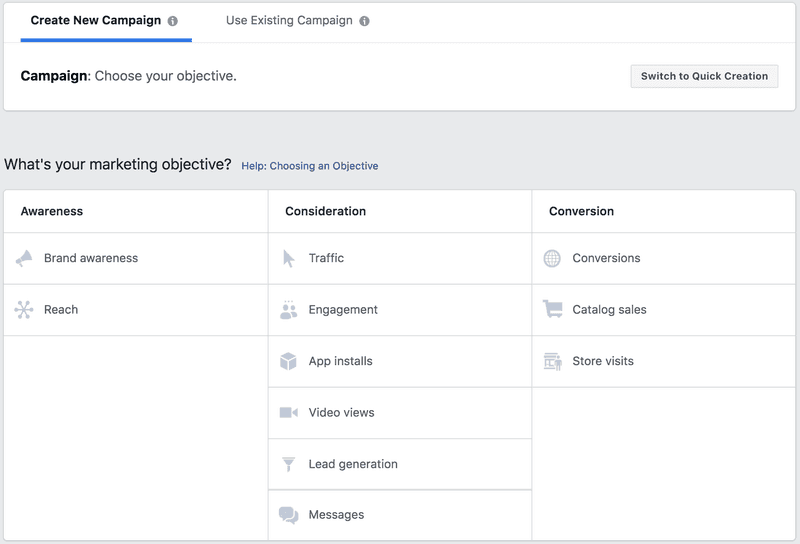 Facebook Ad Campaign Creation Funnel